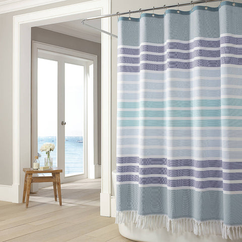 "Royal Bath Shades of Blue 100% Cotton Twill Striped Shower Curtain with Knotted Fringes  (72"" x 72"")"