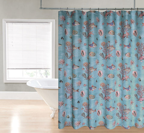 "Royal Bath Under the Sea Water Repellant Fabric Shower Curtain -70"" x 72"""