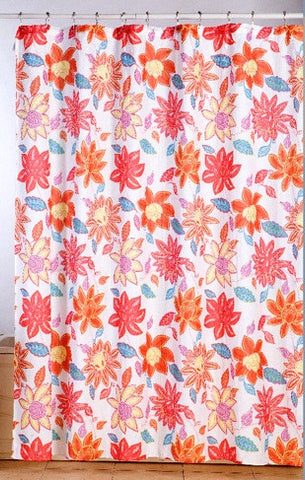 Neon Fleur Waffle Fabric Shower Curtain with Matching Roller Hooks