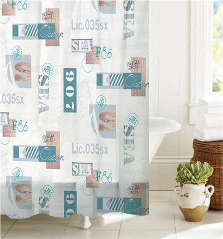 "Royal Bath License to Sail PEVA Non-Toxic Shower Curtain (70"" x 72"") with 12 Roller Hooks"