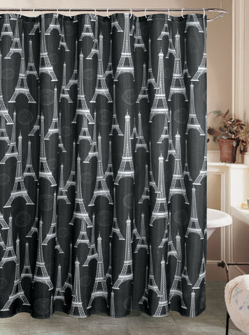 "Royal Bath Parisian Nights Eiffel Tower Canvas Fabric Shower Curtain (70"" x 72"") with Roller Hooks"