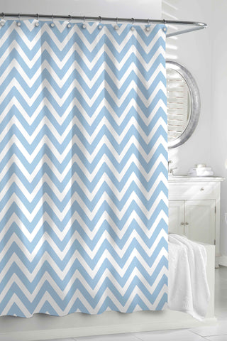 "Royal Bath 100% Cotton Shower Curtain (72"" x 72"") Aqua/White Chevron"