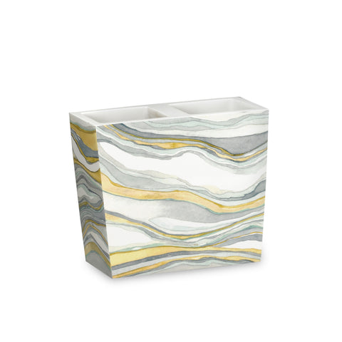 "Royal Bath Hypnotic Marble Heavy Resin Toothbrush Holder (4""H x 4.5""W x 2""D)"