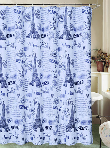 "Royal Bath Paris Ville de L'Amour Eiffel Tower Canvas Fabric Shower Curtain (70"" x 72"") with Roller Hooks - White"