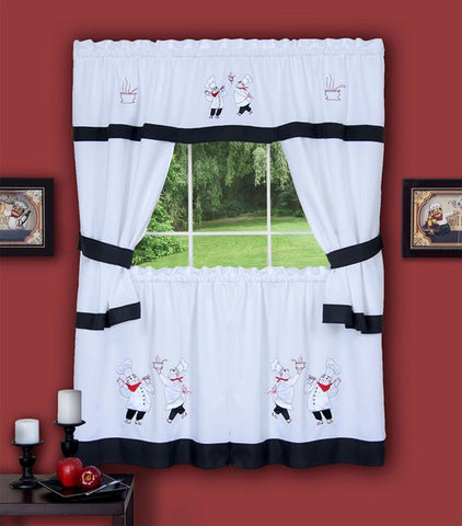 Traditional Elegance Gourmet Embellished Cottage Window Curtain Set 58x24