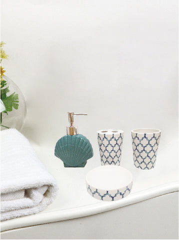 Royal Bath Nautical Paradise 4 Piece Ceramic Bath Set: 1 Lotion Pump, 1 Toothbrush Holder, 1 Tumbler and 1 Soap Dish - Teal