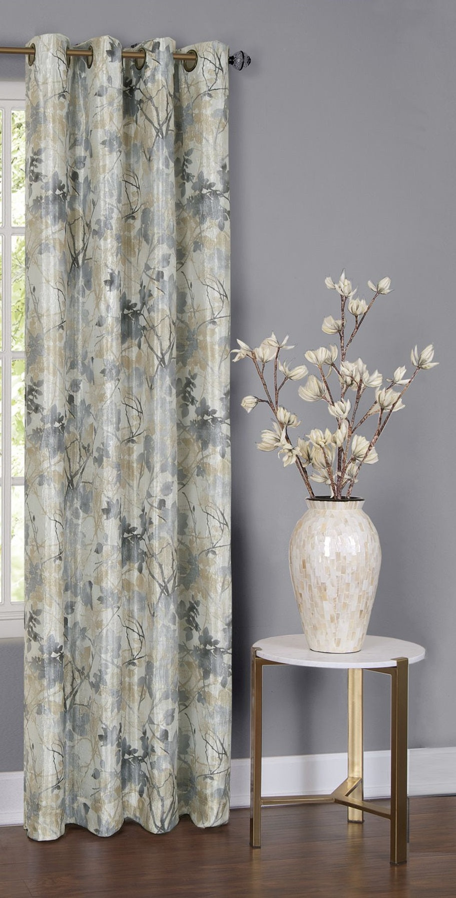 Traditional Elegance Trinity - Lined Grommet Window Curtain Panel - 50x84 -  Silver