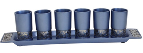 Ben and Jonah Liquor Shot Cups Set- 6 Cups with Tray- Blue with Silver Metal Decorative Cutouts