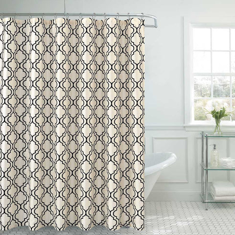 "Royal Bath Contorno Flocking Shower Curtain (70"" x 72"") with Roller Hooks - Off White/Black"