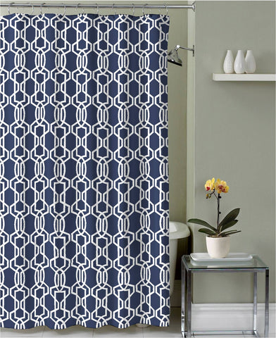 "Royal Bath Midnight Blue Dance of the Scorpion Canvas Fabric Shower Curtain (70"" x 72"")"
