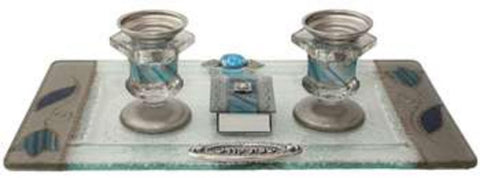 "Ben and Jonah Glass Sabbath/Shabbos Candlesticks With Tray And Matchbox Small Applique - Ocean Blue With Tulip - Tray 10 3/4""W X 6""H Candlesticks  - 2.5""H Matchbox 2""W X 1.5"" H"