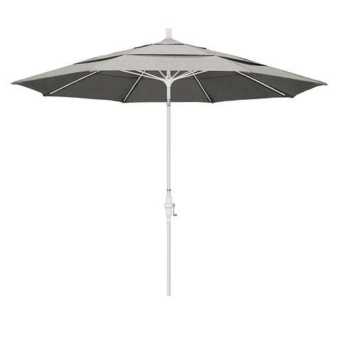 Eclipse Collection 11' Fiberglass Market Umbrella Collar Tilt DV Matted White/Sunbrella/Granite