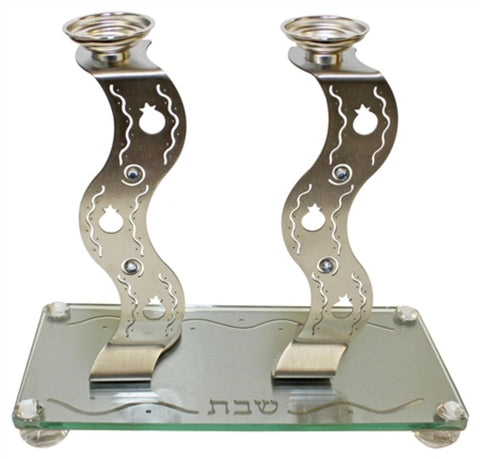"Ben and Jonah Metal Lazer Cut Sabbath/Shabbos Candlesticks With Glass Tray-Squiggle Design Pomegranate-Tray 9 3/4""W X 5"" L Candlesticks 7""H"