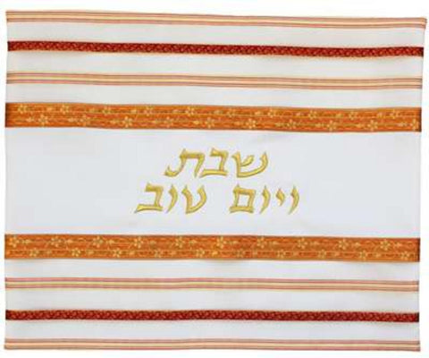 "Ben and Jonah Challah Cover-20"" X 16""-Orange/Red Stripes-Poly Silk"