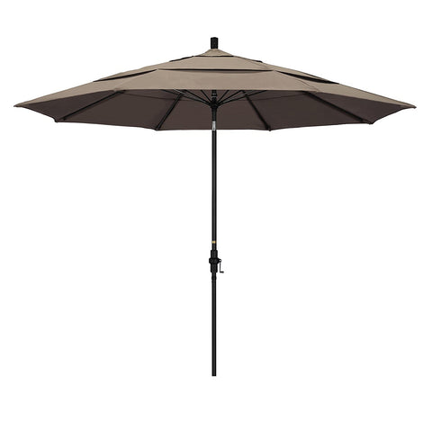 Eclipse Collection 11' Fiberglass Market Umbrella Collar Tilt DV Matted Black/Sunbrella/Taupe