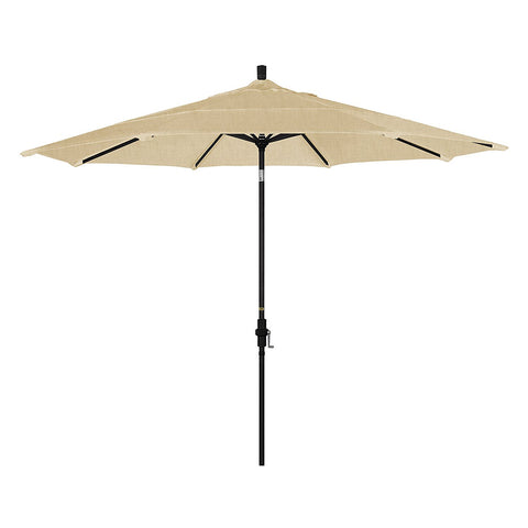 Eclipse Collection 11' Aluminum Market Umbrella Collar Tilt DV Matted Black/Sunbrella/Linen Champagne