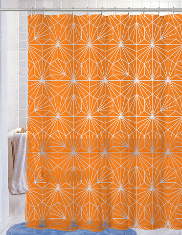 "Royal Bath Neon Spider WEB PEVA Non-Toxic Shower Curtain - 70"" x 72"" with 12 Matching Roller Hooks - Bright Orange"