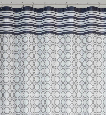 Geometric Expression Dobby Fabric Shower Curtain with 12 Matching Roller Hooks