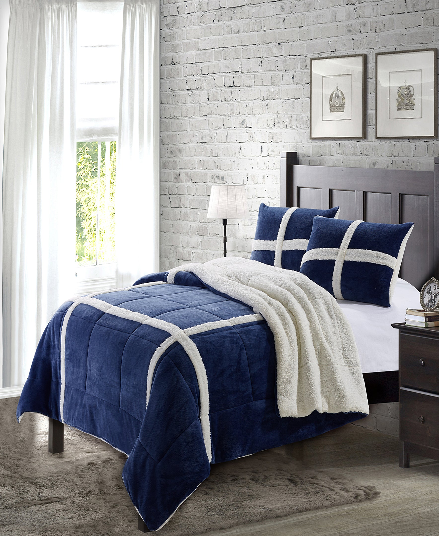 """Simple Elegance by Ben&Jonah 3 Piece Queen Size Flannel Blanket Set with Sherpa Backing (90"""" x 90"""") - Navy"""