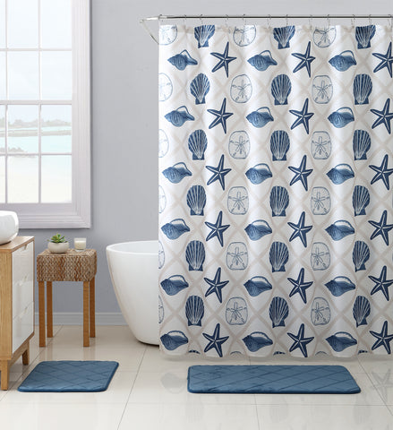 "Royal Bath Crustacio Canvas Fabric Shower Curtain (72"" x 72"") with Roller Hooks"