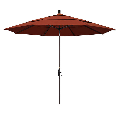 Eclipse Collection 11' Fiberglass Market Umbrella Collar Tilt DV Bronze/Sunbrella/Canvas Brick