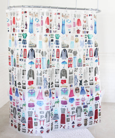 "Royal Bath Travel Girl Glamour PEVA Non-Toxic Shower Curtain (70"" x 72"")"