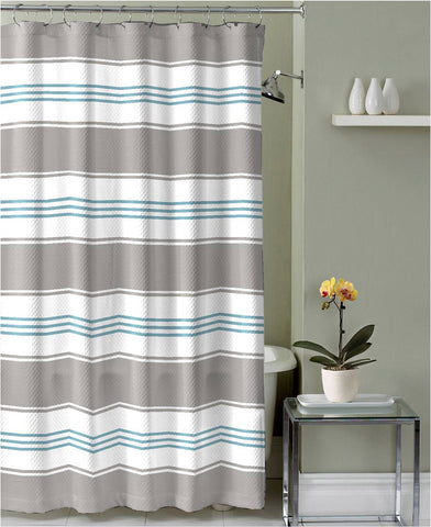"Royal Bath Parallel Beauty Striped Canvas Fabric Shower Curtain (70"" x 72"") - Grey"