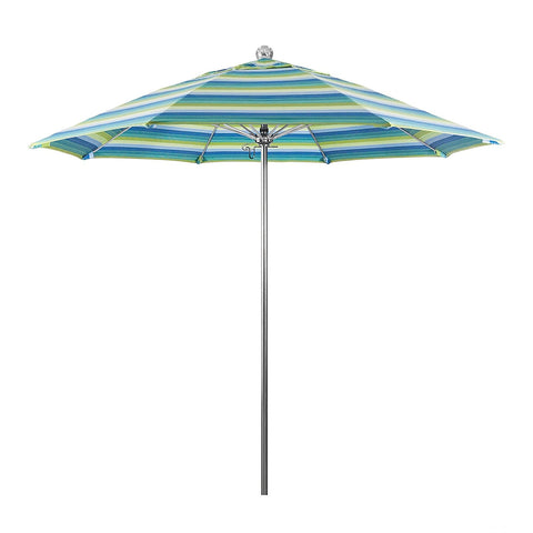 Eclipse Collection 9'SSteel SinglePole FGlass Ribs M Umbrella SV Anodized/Olefin/Red-Natural Stripe