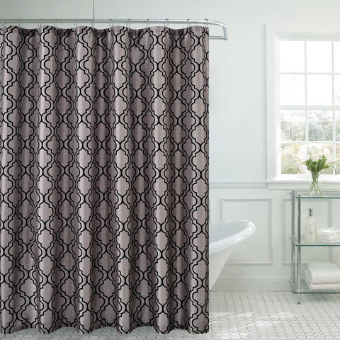 "Royal Bath Contorno Flocking Shower Curtain (70"" x 72"") with Roller Hooks - Silver/Black"