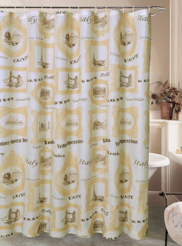 "Royal Bath El Mundo Worldly Travel Canvas Fabric Shower Curtain (70"" x 72"") with Roller Hooks"