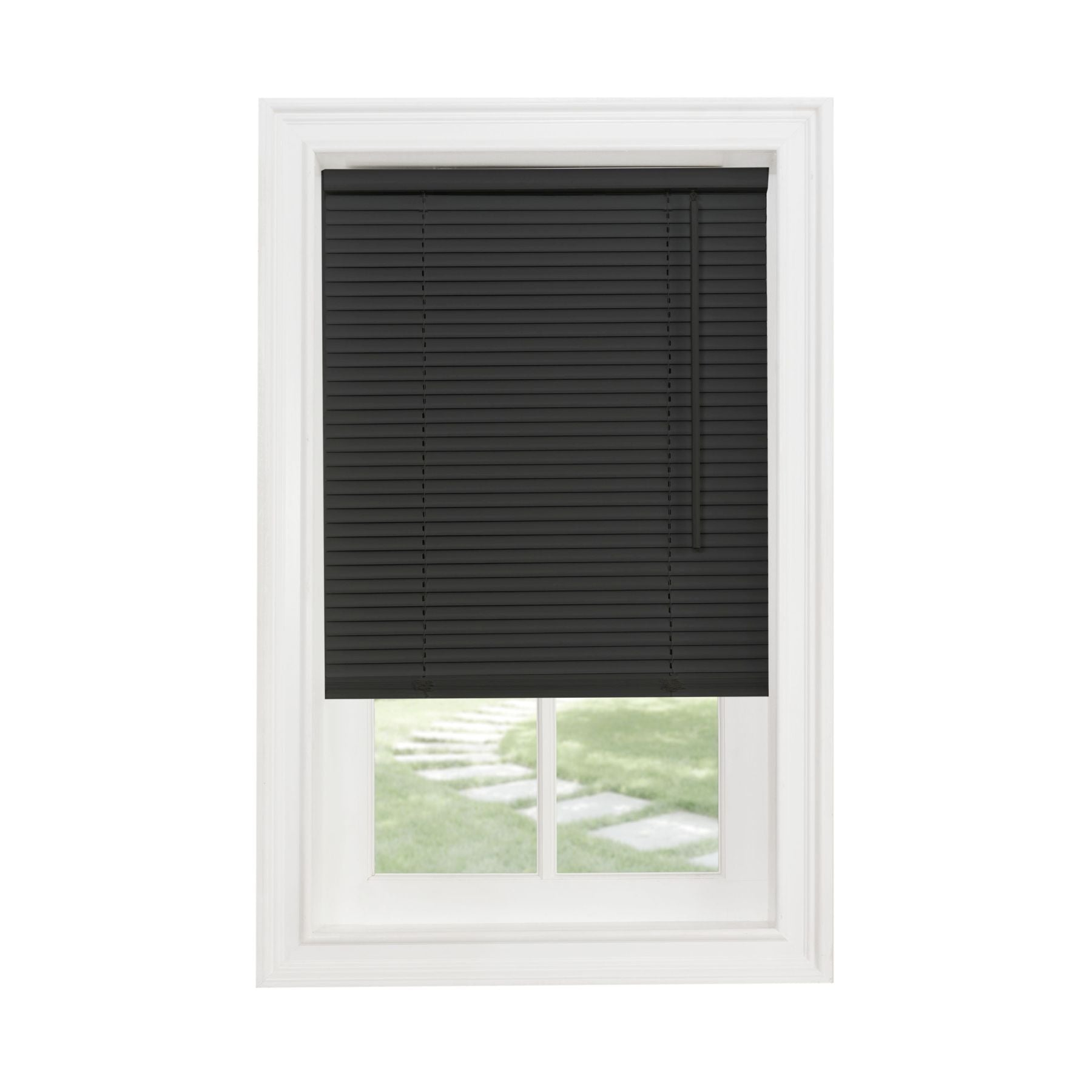 "Traditional Elegance Cordless Sunrise 1"" Light Filtering Mini Blind 30x64 - Black"