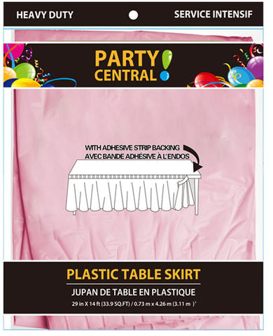 "Party Central Heavy Duty Plastic Table Skirt with Adhesive Backing (14'L x 29"" Drop) - Pink"