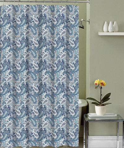 "Royal Bath Blue Paisley Canvas Fabric Shower Curtain (70"" x 72"") with Roller Hooks"