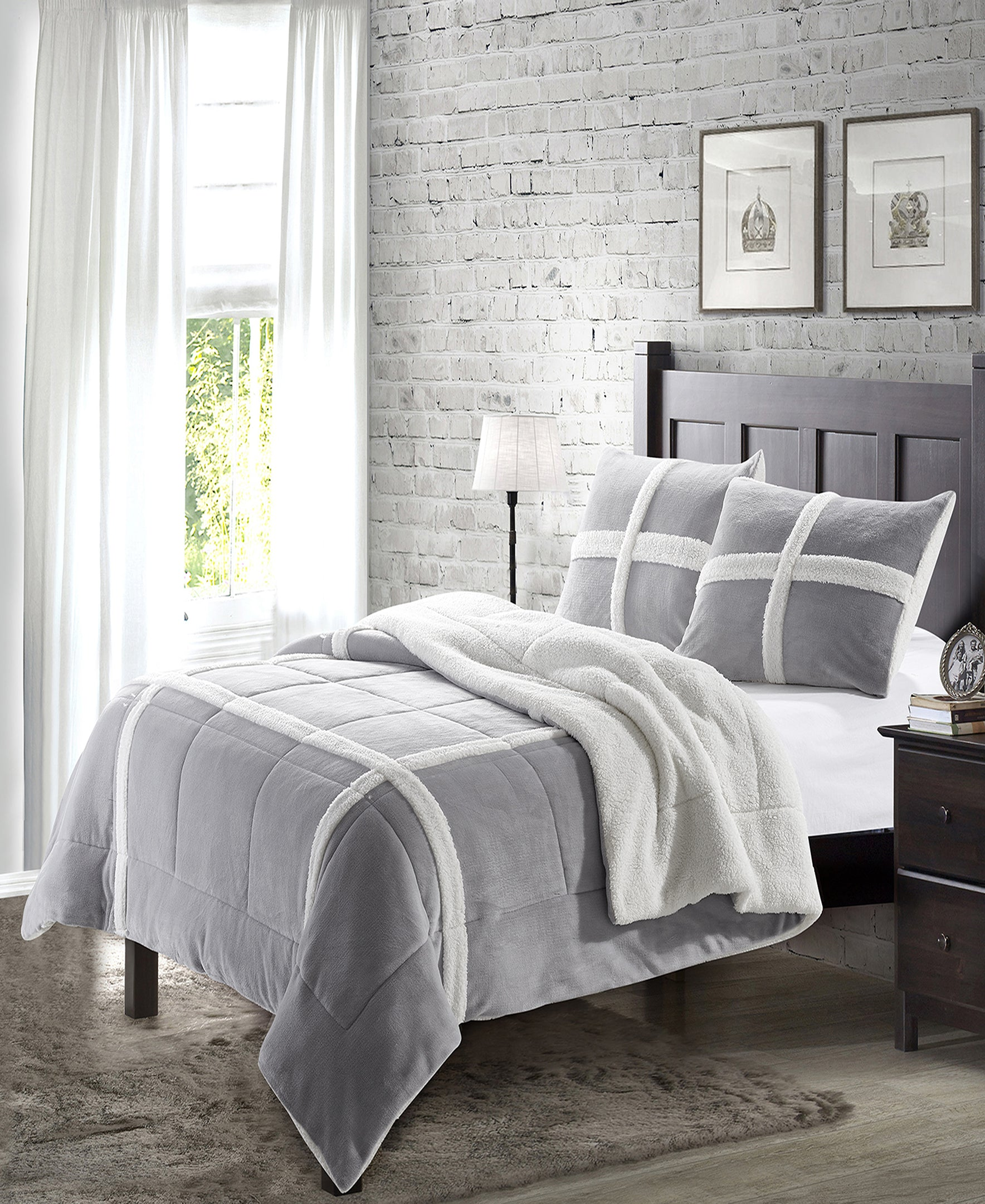 """Simple Elegance by Ben&Jonah 3 Piece Queen Size Flannel Blanket Set with Sherpa Backing (90"""" x 90"""") - Grey"""