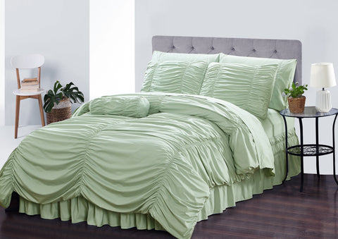 "Simple Elegance by Ben&Jonah Ruffled Frills 8 Piece King Size Down Alternative Comforter Set (102"" x 86"") - Sage"