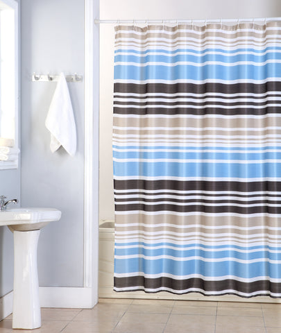 "Royal Bath Hamptons Striped Canvas Fabric Shower Curtain - 70"" x 70"""