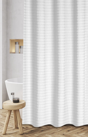 "Royal Bath 100% Cotton Textured Stipes Shower Curtain (72"" x 72"") - White"