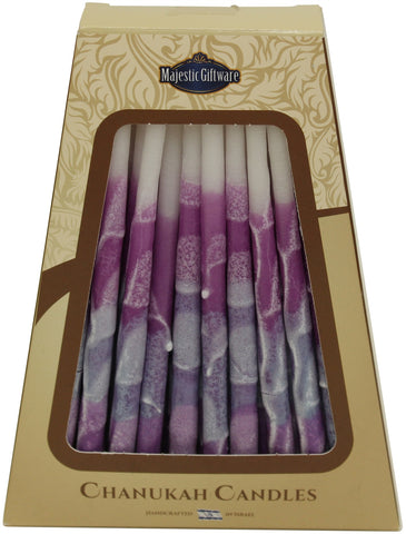 Ben&Jonah Safed Chanukah Candles - 45 Pack - Purple/White - 6""