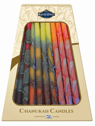 Ben&Jonah Safed Chanukah Candles - 45 Pack -Orange/Yellow/Purple 6""