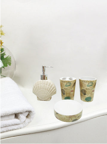 Royal Bath Nautical Paradise 4 Piece Ceramic Bath Set: 1 Lotion Pump, 1 Toothbrush Holder, 1 Tumbler and 1 Soap Dish - Sand