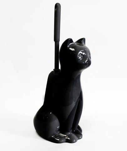"Royal Bath Meow Meow Clean Cat Decorative Ceramic Toilet Brush Holder with Toilet Brush (10.5""H x 7""W x 5""D) - Black"