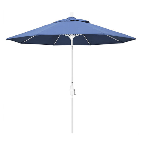 Eclipse Collection 9' Fiberglass Market Umbrella Collar Tilt M White/Olefin/Frost Blue