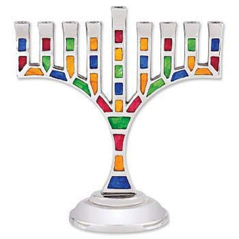"Ben&Jonah Multicolored Jeweled Mosaic Aluminum Menorah with Star of David-Magen David-8.5"" L x 9"" H…"