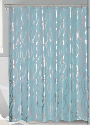 Aqua/Silver Metallic Sparks Faux Silk Fabric Shower Curtain With Roller  Hooks