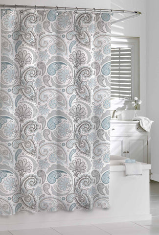 "Royal Bath 100% Cotton Shower Curtain (72"" x 72"") Blue/Grey Paisley"