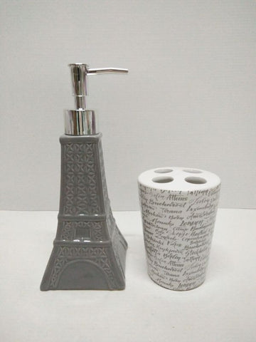 Royal Bath Novelty Paris Glamour Eiffel Tower 2 Piece Ceramic Bath Set: 1 Lotion Pump and 1 Toothbrush Holder - Grey