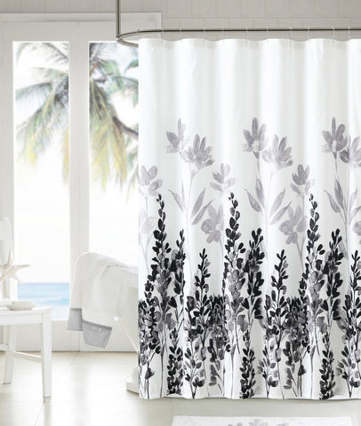 "Royal Bath Shades of Grey Black and White Floral Embossed Microfiber Fabric Shower Curtain - 72"" x 72"""