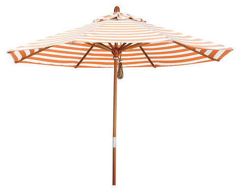 Eclipse Collection 9' Wood Market Umbrella Pulley Open Marenti Wood/Olefin/Orange-Natural Stripe