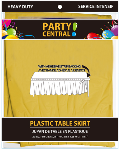 "Party Central Heavy Duty Plastic Table Skirt with Adhesive Backing (14'L x 29"" Drop) - Yellow"