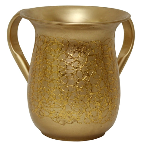 Ben and Jonah Washing Cup-Stainless Steel-Gold Intricate Pattern